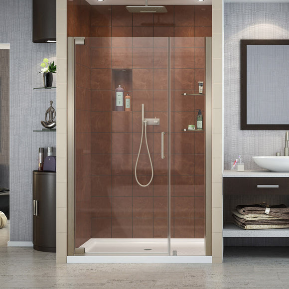 "DreamLine SHDR-4140720-04 Elegance 40 3/4 - 42 3/4""W x 72""H Frameless Pivot Shower Door in Brushed Nickel"