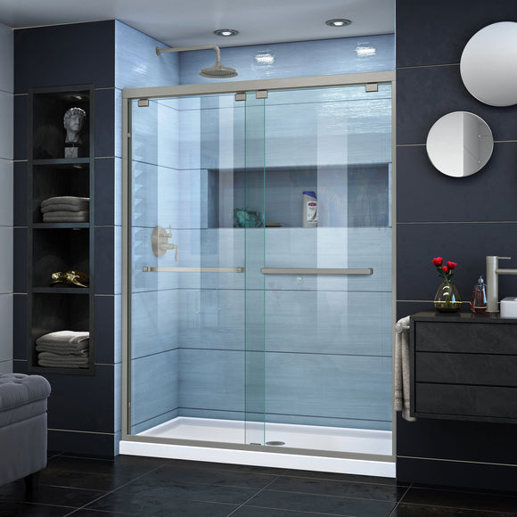 "DreamLine SHDR-1660760-04 Encore 56-60""W x 76""H Semi-Frameless Bypass Shower Door in Brushed Nickel"