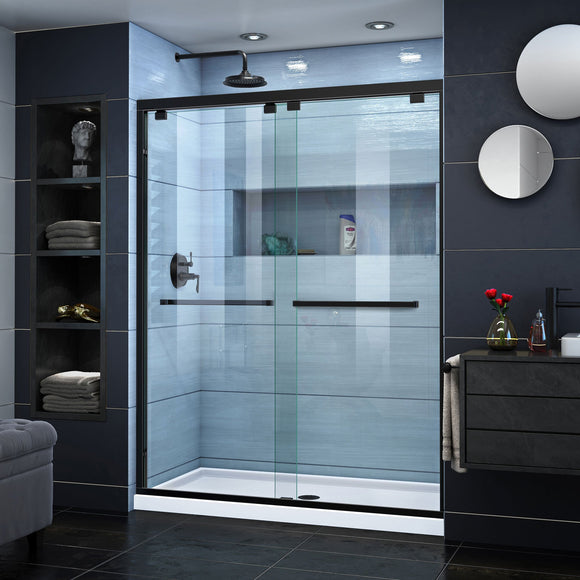 "DreamLine SHDR-1660760-09 Encore 56-60""W x 76""H Semi-Frameless Bypass Shower Door in Satin Black"