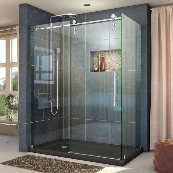 "DreamLine SHEN-6234600-08 Enigma-Z 34 1/2""D x 60 3/8""W x 76""H Fully Frameless Sliding Shower Enclosure in Polished Stainless Steel"