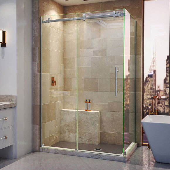"DreamLine SHEN-6434480-07 Enigma Air 34 3/4""D x 48 3/8""W x 76""H Frameless Sliding Shower Enclosure in Brushed Stainless Steel"
