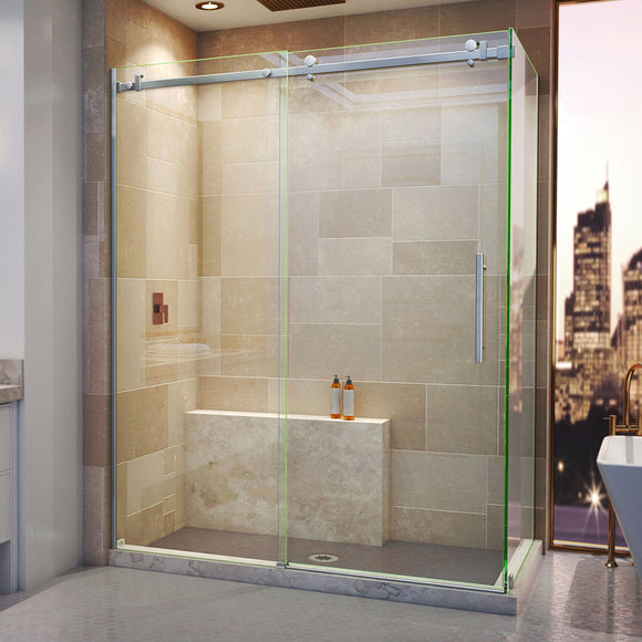 "DreamLine SHEN-6434600-07 Enigma Air 34 3/4""D x 60 3/8""W x 76""H Frameless Sliding Shower Enclosure in Brushed Stainless Steel"