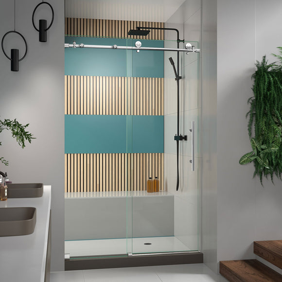 "DreamLine SHDR-61487610-08 Enigma-X 44-48""W x 76""H Fully Frameless Sliding Shower Door in Polished Stainless Steel - Bath4All"