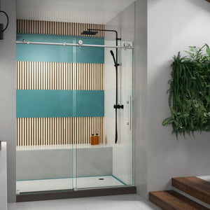 "DreamLine SHDR-61607610-07 Enigma-X 56-60""W x 76""H Fully Frameless Sliding Shower Door in Brushed Stainless Steel - Bath4All"