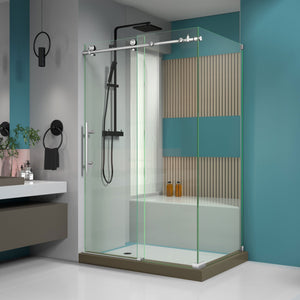 "DreamLine SHEN-6134480-07 Enigma-X 34 1/2""D x 48 3/8""W x 76""H Fully Frameless Sliding Shower Enclosure in Brushed Stainless Steel"