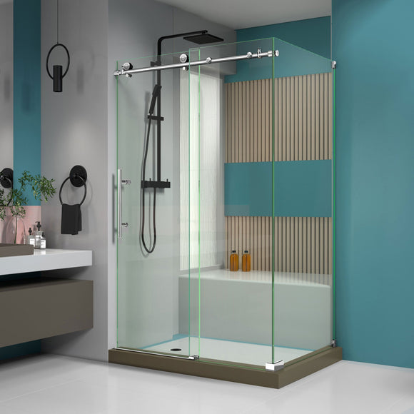 "DreamLine SHEN-6134480-08 Enigma-X 34 1/2""D x 48 3/8""W x 76""H Fully Frameless Sliding Shower Enclosure in Polished Stainless Steel"