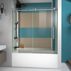 "DreamLine SHDR-61606210-07 Enigma-X 55-59""W x 62""H Fully Frameless Sliding Tub Door in Brushed Stainless Steel - Bath4All"