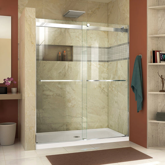 "DreamLine SHDR-6360760-01 Essence 56-60""W x 76""H Frameless Bypass Shower Door in Chrome"
