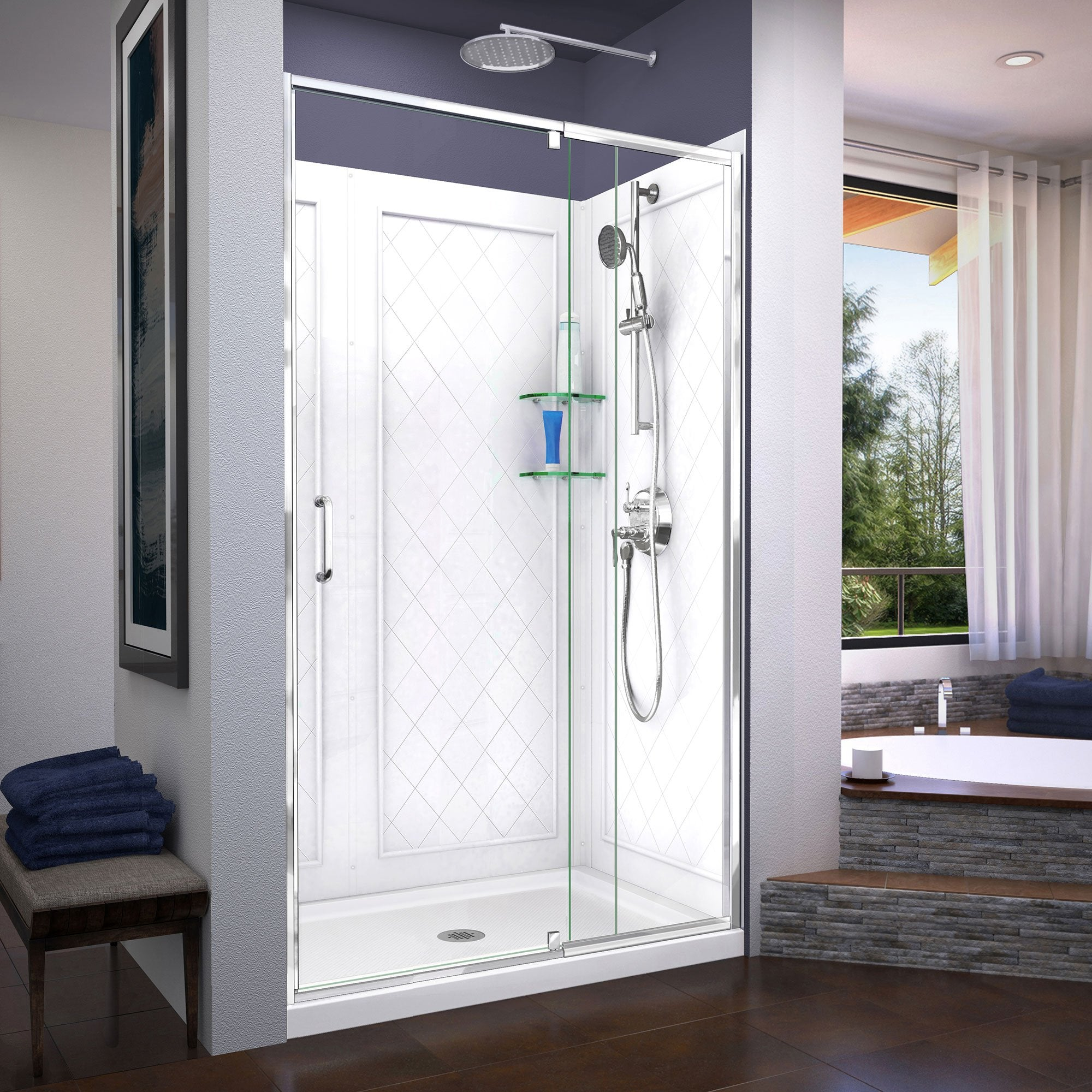 Dreamline Dl 6226c 01 Flex 36 In D X 48 In W X 76 3 4 In H Semi Frameless Shower Door In Chrome With Center Drain White Base And Backwalls