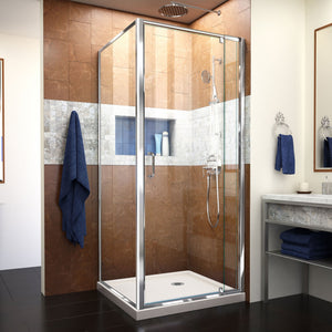 "DreamLine DL-6715-22-01CL Flex 36""D x 36""W x 74 3/4""H Semi-Frameless Pivot Shower Enclosure in Chrome with Corner Drain Biscuit Base"