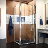 "DreamLine DL-6715-88-01CL Flex 36""D x 36""W x 74 3/4""H Semi-Frameless Pivot Shower Enclosure in Chrome with Corner Drain Black Base"