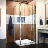 "DreamLine DL-6715-01CL Flex 36""D x 36""W x 74 3/4""H Semi-Frameless Pivot Shower Enclosure in Chrome with Corner Drain White Base"