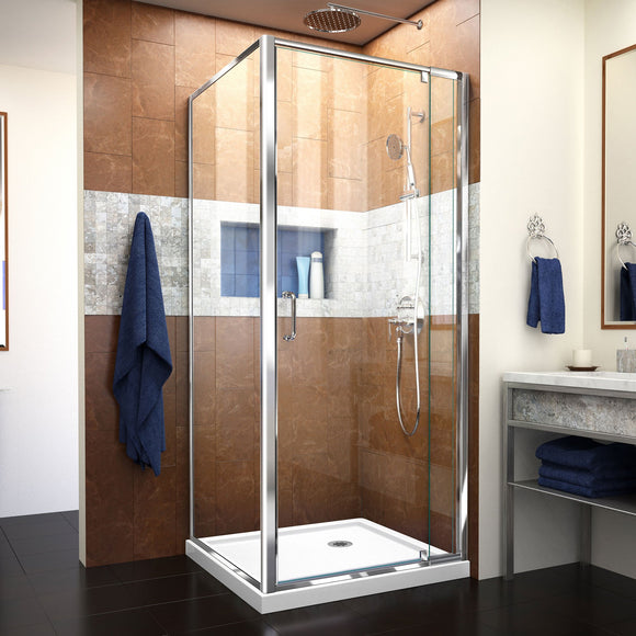 "DreamLine DL-6714-01CL Flex 32""D x 32""W x 74 3/4""H Semi-Frameless Pivot Shower Enclosure in Chrome with Corner Drain White Base"