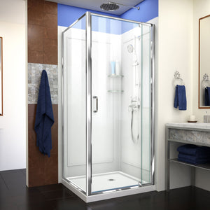 "DreamLine DL-6717-01CL Flex 36""D x 36""W x 76 3/4""H Semi-Frameless Shower Enclosure in Chrome with Corner Drain Base and Backwalls"