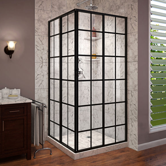 "DreamLine SHEN-8134340-89 French Corner 34 1/2""D x 34 1/2""W x 72""H Framed Sliding Shower Enclosure in Satin Black"