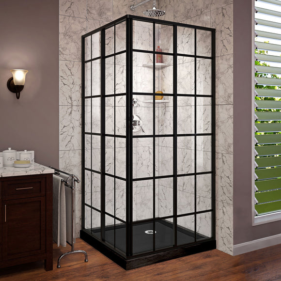 "DreamLine DL-6789-09 French Corner 36""D x 36""W x 74 3/4""H Sliding Shower Enclosure in Satin Black and Corner Drain Black Base Kit"