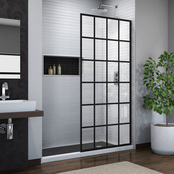 "DreamLine SHDR-3234721-89 French Linea Toulon 34""W x 72""H Single Panel Frameless Shower Door, Open Entry Design in Satin Black"