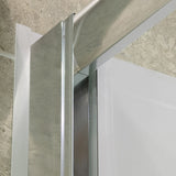 "DreamLine DL-6113R-01CL Visions 32""D x 60""W x 76 3/4""H Sliding Shower Door in Chrome with Right Drain White Base, Backwalls"