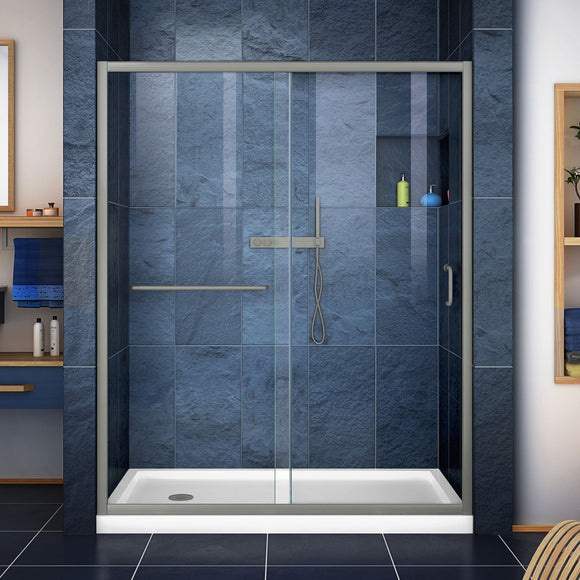 "DreamLine DL-6972L-04CL Infinity-Z 34""D x 60""W x 74 3/4""H Clear Sliding Shower Door in Brushed Nickel and Left Drain White Base"