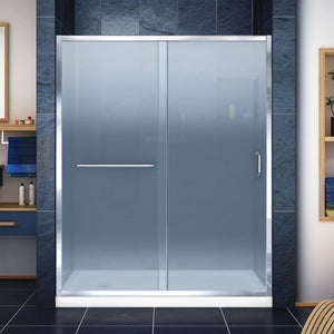 "DreamLine DL-6972L-01FR Infinity-Z 34""D x 60""W x 74 3/4""H Frosted Sliding Shower Door in Chrome and Left Drain White Base"