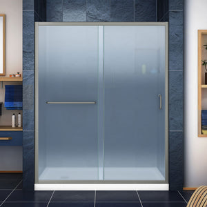 "DreamLine DL-6972L-04FR Infinity-Z 34""D x 60""W x 74 3/4""H Frosted Sliding Shower Door in Brushed Nickel and Left Drain White Base"