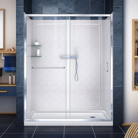"DreamLine DL-6117R-01CL Infinity-Z 32""D x 60""W x 76 3/4""H Clear Sliding Shower Door in Chrome, Right Drain Base and Backwalls"