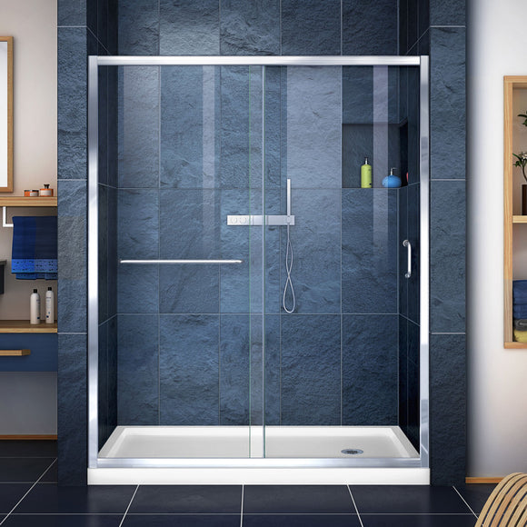 "DreamLine DL-6971R-01CL Infinity-Z 32""D x 60""W x 74 3/4""H Clear Sliding Shower Door in Chrome and Right Drain White Base"