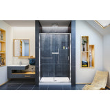 "DreamLine DL-6975C-01CL Infinity-Z 36""D x 48""W x 74 3/4""H Clear Sliding Shower Door in Chrome and Center Drain White Base"