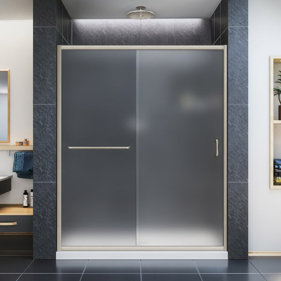 "DreamLine DL-6972C-04FR Infinity-Z 34""D x 60""W x 74 3/4""H Frosted Sliding Shower Door in Brushed Nickel and Center Drain White Base"
