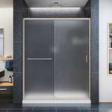 "DreamLine DL-6971C-04FR Infinity-Z 32""D x 60""W x 74 3/4""H Frosted Sliding Shower Door in Brushed Nickel and Center Drain White Base"
