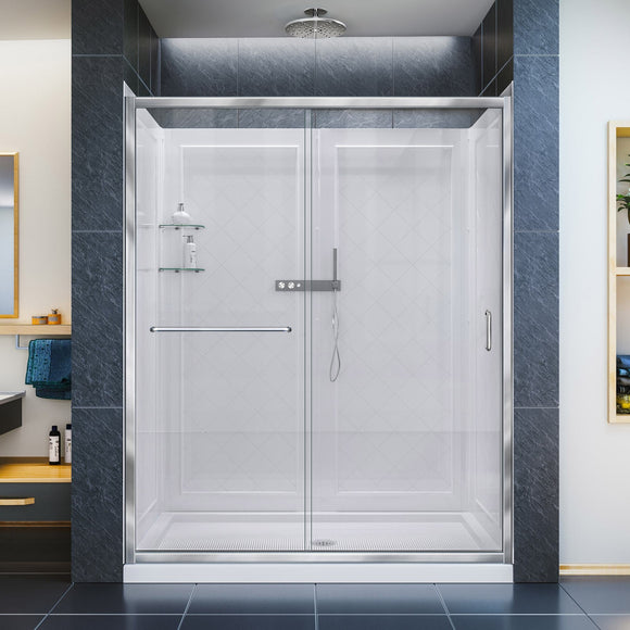 "DreamLine DL-6119C-01CL Infinity-Z 36""D x 60""W x 76 3/4""H Clear Sliding Shower Door in Chrome, Center Drain Base and Backwalls"