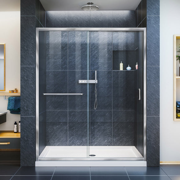 "DreamLine DL-6971C-01CL Infinity-Z 32""D x 60""W x 74 3/4""H Clear Sliding Shower Door in Chrome and Center Drain White Base"