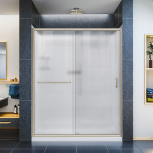 "DreamLine DL-6119R-04FR Infinity-Z 36""D x 60""W x 76 3/4""H Frosted Sliding Shower Door in Brushed Nickel, Right Drain Base, Backwalls"