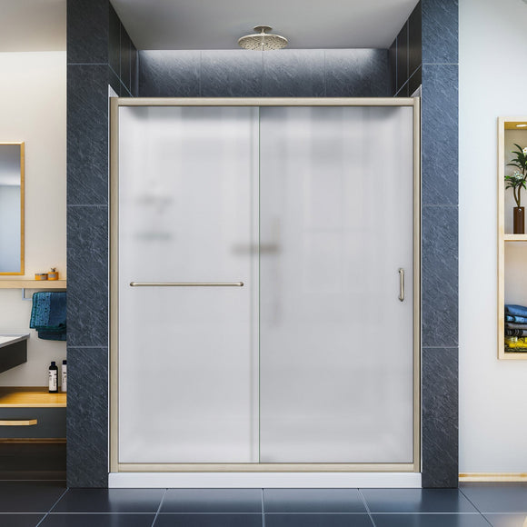 "DreamLine DL-6118R-04FR Infinity-Z 34""D x 60""W x 76 3/4""H Frosted Sliding Shower Door in Brushed Nickel, Right Drain Base, Backwalls"