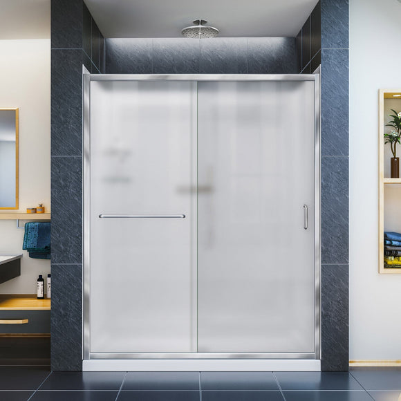 "DreamLine DL-6117R-01FR Infinity-Z 32""D x 60""W x 76 3/4""H Frosted Sliding Shower Door in Chrome, Right Drain Base and Backwalls"