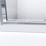 "DreamLine DL-6975C-04FR Infinity-Z 36""D x 48""W x 74 3/4""H Frosted Sliding Shower Door in Brushed Nickel and Center Drain White Base"