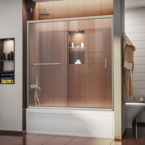 "DreamLine SHDR-0960580-04 Infinity-Z 56-60""W x 58""H Semi-Frameless Sliding Tub Door, Clear Glass in Brushed Nickel"