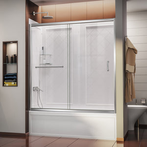 "DreamLine DL-6992-01CL Infinity-Z 56-60""W x 60""H Clear Sliding Tub Door in Chrome with White Acrylic Backwall Kit"