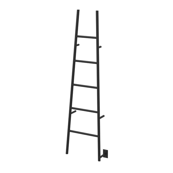 "Amba ASMB Jeeves Heated 75"" Towel Warmer Rack Ladder with 5 Bars, Matte Black"