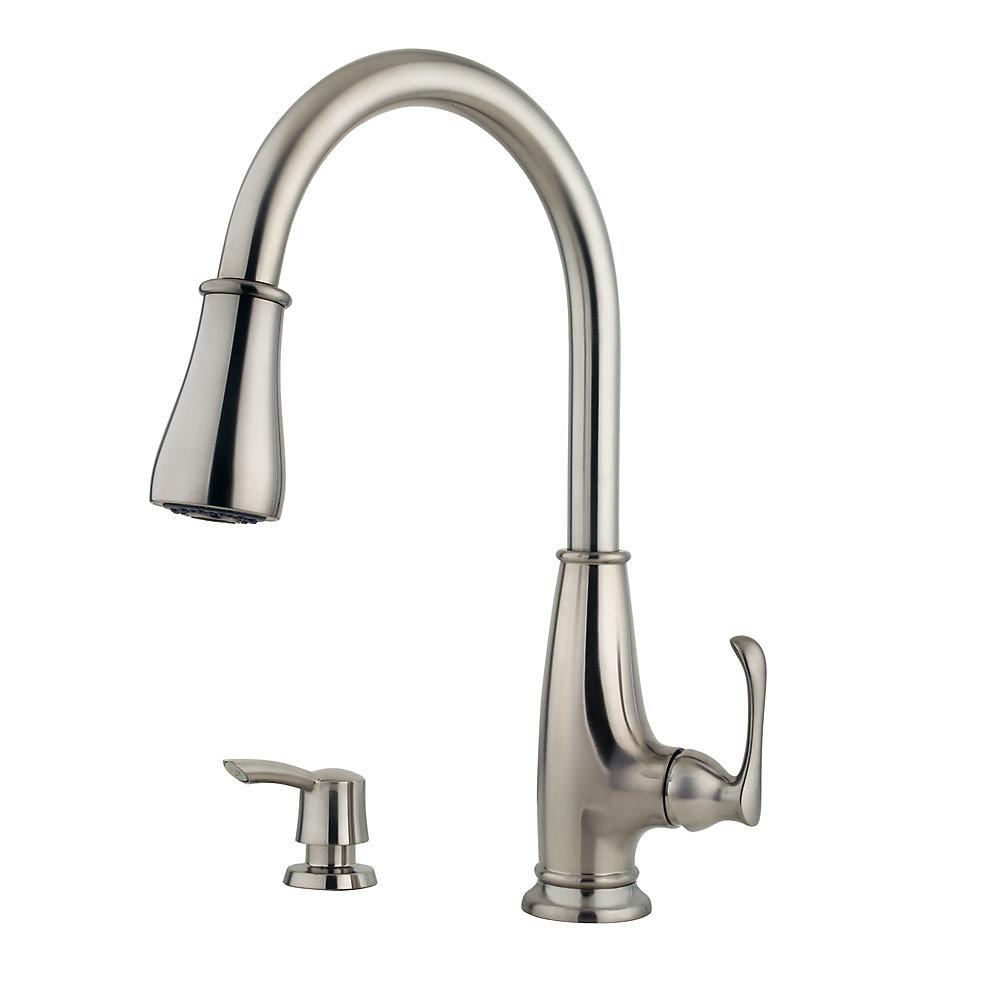 Pfister LF-529-7AYS Ainsley Kitchen Faucet with Soap Dispenser, Stainless  Steel