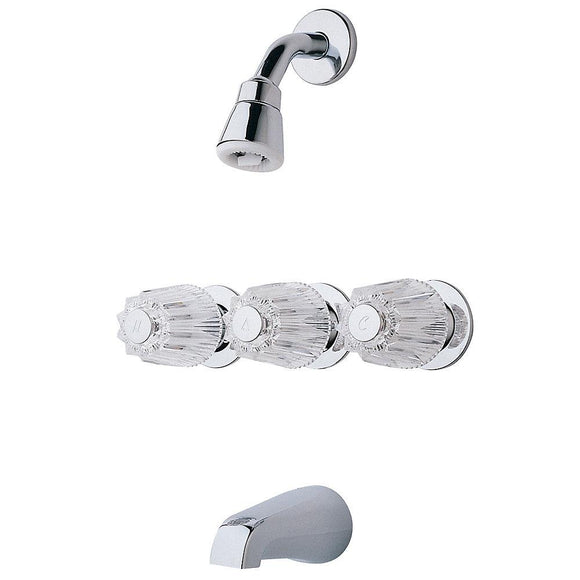 Pfister LG01-1120 Tub and Shower Faucet with Metal Knob Handles in Polished Chrome