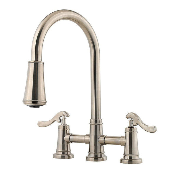 Pfister LG531-YPK Ashfield Double Handle Pull-Down Kitchen Faucet in Brushed Nickel
