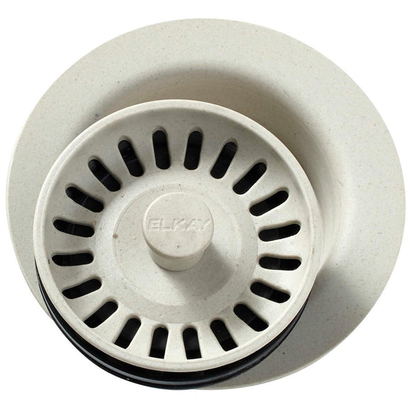 Elkay LKQD35BQ Polymer Disposer Flange, Removable Strainer and Rubber Stopper Bisque