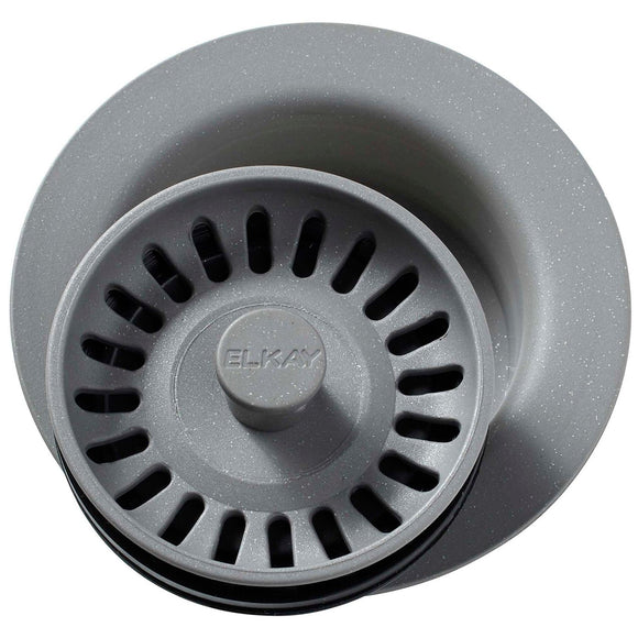 Elkay LKQD35GS Polymer Disposer Flange, Removable Strainer and Rubber Stopper Greystone