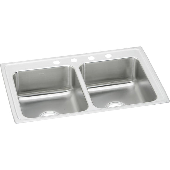 "Elkay LR33194 Lustertone Stainless Steel 33"" x 19-1/2"" x 7-5/8"", 2-Bowl Top Mount Kitchen Sink"