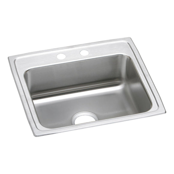 "Elkay LRAD2219551 Lustertone Stainless Steel 22"" x 19-1/2"" x 5-1/2"", 1-Bowl Top Mount ADA Kitchen Sink"