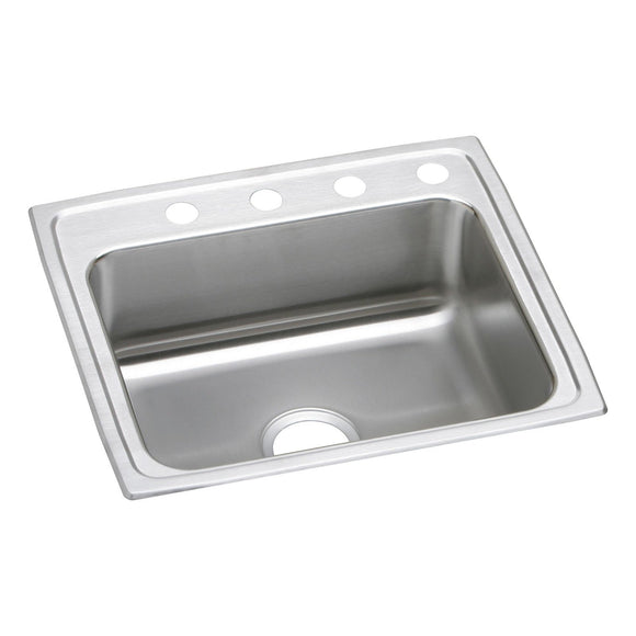 "Elkay LRAD2521601 Lustertone Stainless Steel 25"" x 21-1/4"" x 6"", 1-Bowl Top Mount ADA Kitchen Sink"