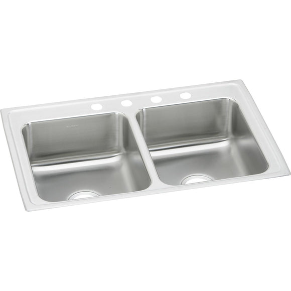 "Elkay LRAD2918653 Lustertone Stainless Steel 29"" x 18"" x 6-1/2"", 2-Bowl Top Mount ADA Kitchen Sink"