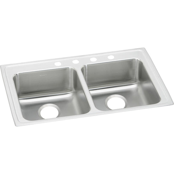 "Elkay LRAD3321603 Lustertone Stainless Steel 33"" x 21-1/4"" x 6"", 2-Bowl Top Mount ADA Kitchen Sink"