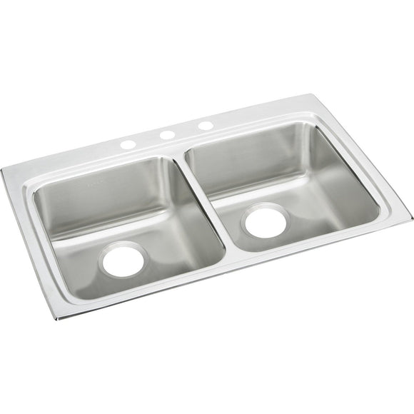 "Elkay LRAD3322553 Lustertone Stainless Steel 33"" x 22"" x 5-1/2"", 2-Bowl Top Mount ADA Kitchen Sink"